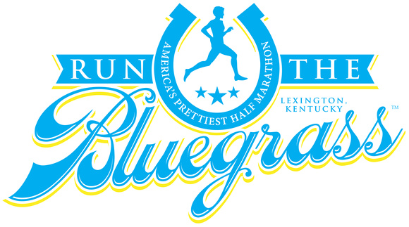 RunTheBluegrass Traditional Logo with John's in Blue, Green and